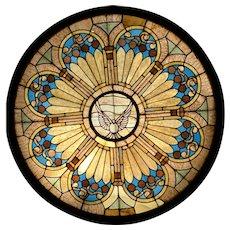 Round Leaded Stain Glass window with Dove