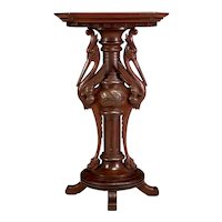 Aesthetic Movement Carved Walnut & Cherry Heron Figural Pedestal