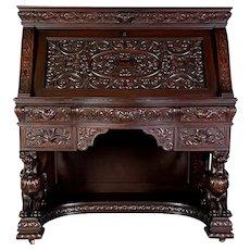 R.J. Horner Carved Mahogany Desk
