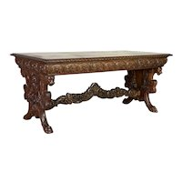 R.J. Horner Style Carved Mahogany Trestle Table