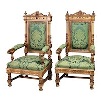 Pair of Renaissance Revival Carved Walnut Armchairs