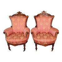Victorian Renaissance Incise Carved Arm Chairs