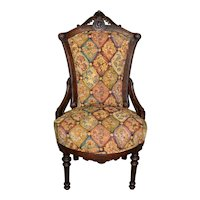 Victorian Burl Walnut Ladies Chair with Carved Head