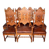 Set of 7 Fancy Oak Carved Dining Chairs