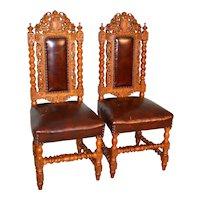 Carved Oak Leather Barley Twist Chairs