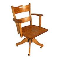 Oak Mission Style Lawyers Office Swivel Tilt Chair