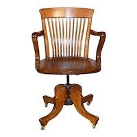 Refinished Victorian Oak Bankers Lawyers Swivel Tilt Office Chair