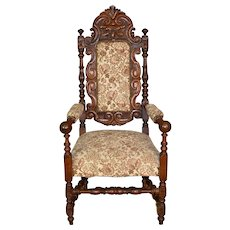 Carved Oak Throne Chair with Arms