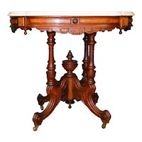 Outstanding Victorian Burl Walnut Heavy Marble Top Parlor Stand