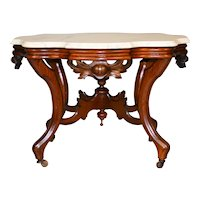 Victorian Hand Carved Marble Top Coffee Table