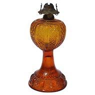 Amber Stem Waffle Design Oil Lamp