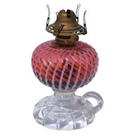 Rare Cranberry and Opalescent Striped Font Stem Finger Lamp