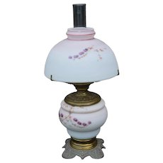 Victorian Milk Glass Hand Decorated Table Lamp
