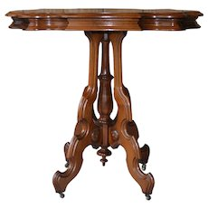 Victorian Carved Walnut Turtle Top Stand