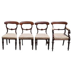 Set of 4 Walnut Assembled Formal Country Dining Chairs