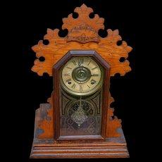 Ingraham Oak Shelf Gingerbread Mantle Clock