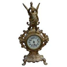 Victorian Gold Figural Mantle Clock with Cherub