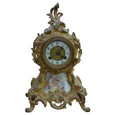 Victorian Gold Cast Metal Mantle Clock