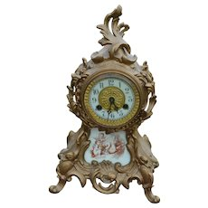Victorian Cast Metal Mantle Clock