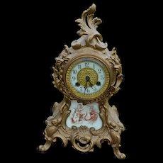 Victorian Cast Metal Mantle Clock
