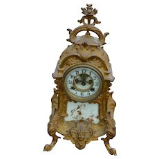 Victorian Cast Gold Wash Metal Shelf Clock by Waterbury