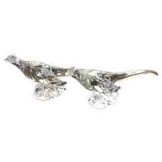 Heisey Glass Co. Pair of Crystal Ringneck Pheasants, Clear Glass Ring Neck