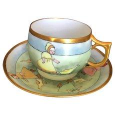 Saxony Fraureuth Dresden Germany Porcelain Child Cup & Saucer Children