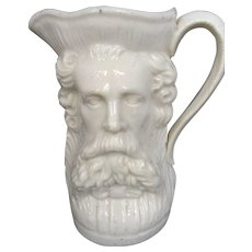 Antique Majolica White Pottery Figural Pitcher Bearded Man
