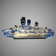 Vintage Battleship Glass Candy Container W / Metal Closure 1943, Victory Glass