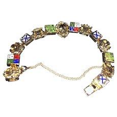 Vintage European Souvenir Charm Bracelet, Coat of Arms, Costume