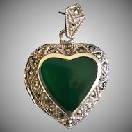 Vtg Sterling Silver 925 Puffy Heart Marcasite and Agate Locket Pendant Charm