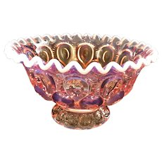 L. E. Smith GLASS MOON & STARS PINK Opalescent Footed Ruffled Bowl 7 1/2 Inches
