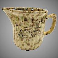 Antique Morton Pottery Woodland Advertising Yellow Ware Spongeware  Pitcher Creamer