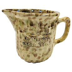 Antique Morton Pottery Woodland Advertising Yellow Ware Spongeware  Pitcher Creamer
