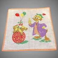 "Vintage Child's Hanky Handkerchief Kitty Duck Balloons 10"" Square"