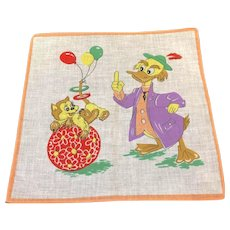 "Vintage Child's Hanky Handkerchief Kitty Duck Balloons 10"" Square"