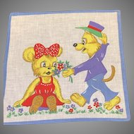 """Vintage Child's Hanky Handkerchief Young Fox and Bear Exchanging Flowers Dressed in Purple and Red 9.75"""" Square"""