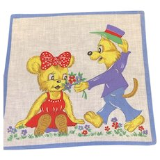 "Vintage Child's Hanky Handkerchief Young Fox and Bear Exchanging Flowers Dressed in Purple and Red 9.75"" Square"