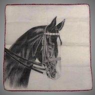 Vtg Handkerchief Beautiful Horse Graphics Switzerland Artist Signed, Dep Free Shipping