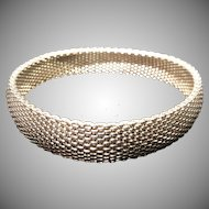 Vintage .999 Fine Sterling Silver Beautiful Mesh Linked Bracelet 7.25 Inches 40gm