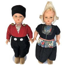 """Vintage 1930s German Wood & Composition Dutch Character Dolls  Boy and Girl, Walking Dolls 18"""""""
