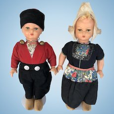 Vintage 1930s German Wood & Composition Dutch Character Dolls  Boy and Girl, Walking Dolls 18""