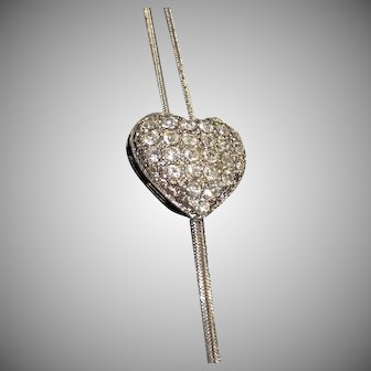 "Vintage Pava Rhinestone Heart Shaped Bolo Lariat Necklace, 17"" Drop"