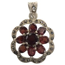 Vintage 925 Sterling Silver Garnet and Marcasite Flower Pendant with Box Chain Necklace