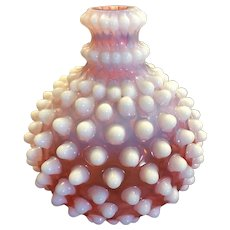 Vintage Hobnail Cranberry Opalescent Barber Bottle Hobbs Brockunier Hobbs,  Blown