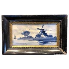 Vintage Miniature Framed Delft Blue White Porcelain Framed Tile Plaque, Holland