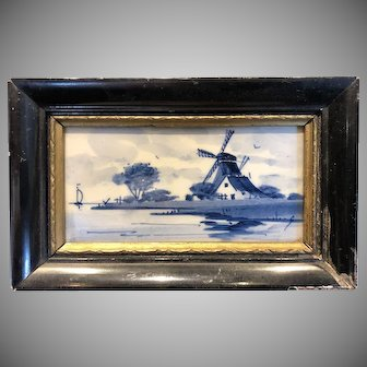 Vintage Miniature Framed Delft Blue White Porcelain Framed Tile Plaque, Holland