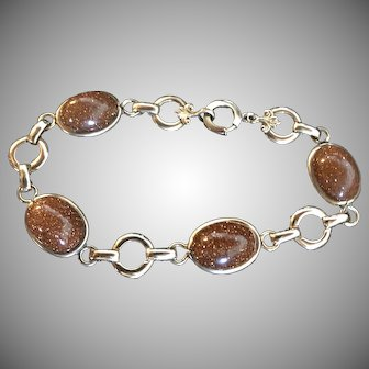 Vintage Authentic Goldstone Bling Gold Filled Bracelet 7 Inches