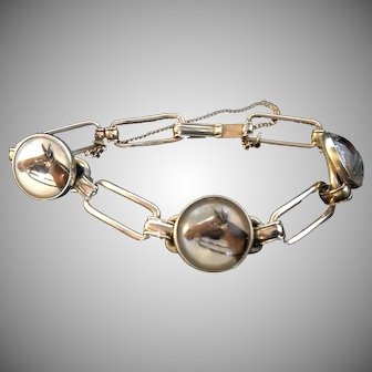 Vintage 1930s Bracelet, Krementz Domed Crystal Intaglio Horses 7 Inches with Security Chain