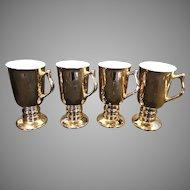 Vintage Hall China Irish Coffee Mugs Set of 4, 22K Gold, Pedestal, Signed #1273